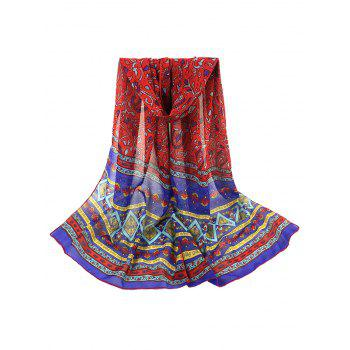 Vintage Ethnic Style Pattern Decorated Long Scarf - RED RED