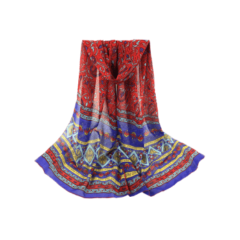 Vintage Ethnic Style Pattern Decorated Long Scarf -  RED
