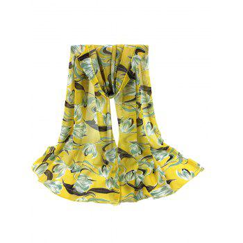 Tulips Pattern Embellished Silky Long Scarf - YELLOW YELLOW