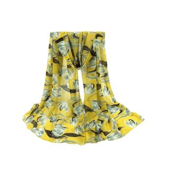 Tulips Pattern Embellished Silky Long Scarf - YELLOW