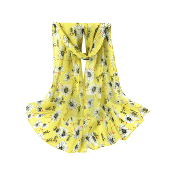 Vintage Chrysanthemum Pattern Embellished Long Scarf - YELLOW
