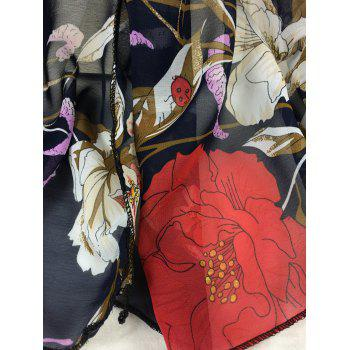 Simple Floral Pattern Embellished Silky Long Scarf -  CADETBLUE