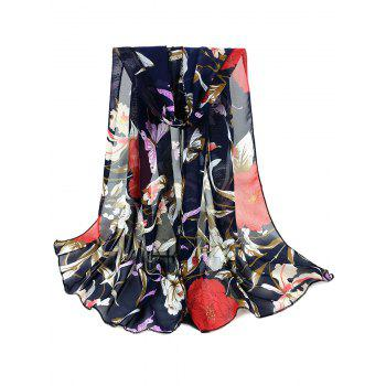 Simple Floral Pattern Embellished Silky Long Scarf - CADETBLUE CADETBLUE