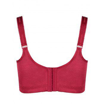 Lace Insert Underwire Plus Size Bra - WINE RED 5XL