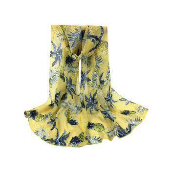 Pineapple Pattern Embellished Silky Long Scarf - YELLOW YELLOW
