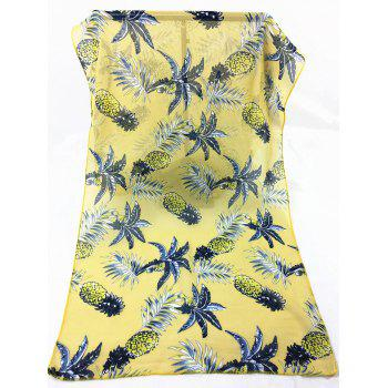 Pineapple Pattern Embellished Silky Long Scarf - YELLOW