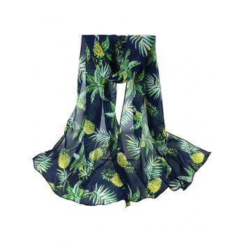 Pineapple Pattern Embellished Silky Long Scarf - CADETBLUE CADETBLUE