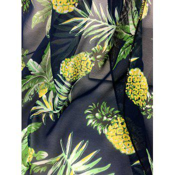 Pineapple Pattern Embellished Silky Long Scarf - CADETBLUE