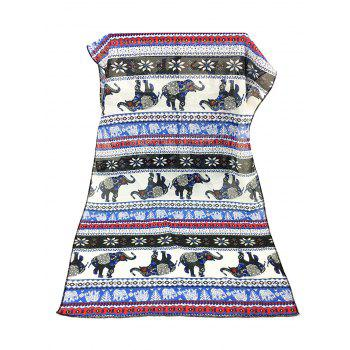Jumping Elephant Pattern Embellished Silky Long Scarf -  BLUE