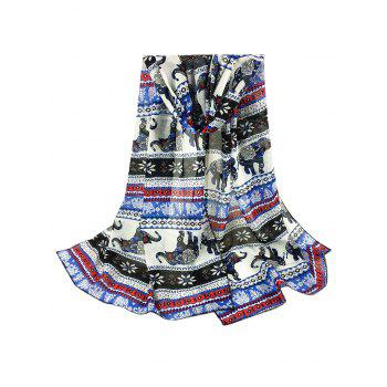 Jumping Elephant Pattern Embellished Silky Long Scarf - BLUE BLUE