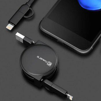 Retractable USB Cable for Android Iphone - BLACK