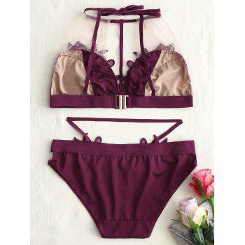 Lace Applique See Thru Bralette Set - WINE RED 70B