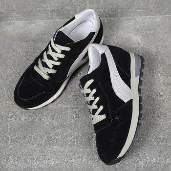Stitching Color Block Lace Up Sneakers - BLACK 39