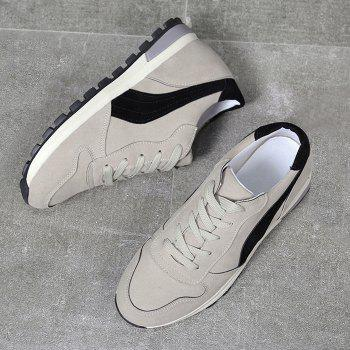 Stitching Color Block Lace Up Sneakers - BEIGE 39