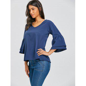 V Neck Bell Sleeve Blouse - BLUE L