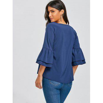 V Neck Bell Sleeve Blouse - BLUE BLUE