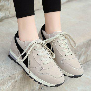 Stitching Color Block Lace Up Sneakers - BEIGE 38