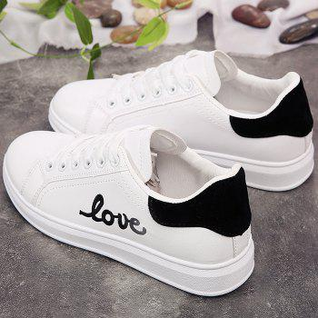 Casual Love Embroidered Sneakers - BLACK 38
