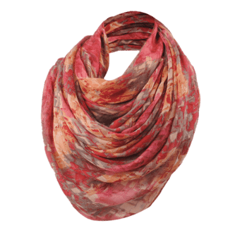 Funny Mosaic Tile Pattern Long Scarf - WINE RED