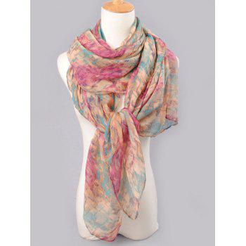 Funny Mosaic Tile Pattern Long Scarf - PURPLISH RED