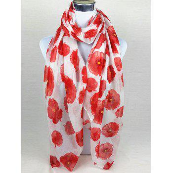 Vintage Blooming Floral Pattern Sheer Scarf - WHITE