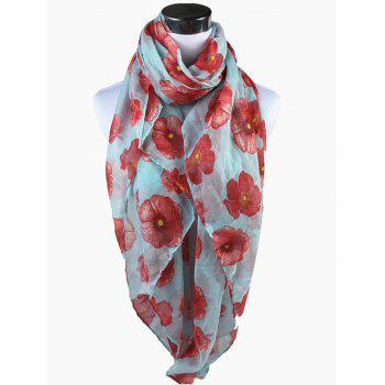 Vintage Blooming Floral Pattern Sheer Scarf -  LIGHT BLUE