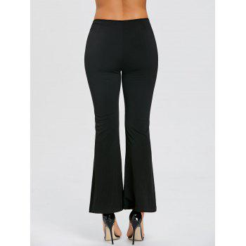 Lace Up Slit High Waisted Bell Bottom Pants - BLACK BLACK