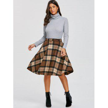 Plaid High Waisted A Line Skirt - DARK KHAKI M