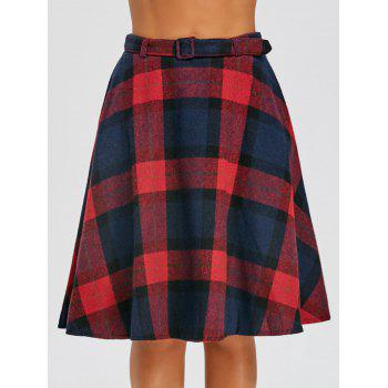Plaid High Waisted A Line Skirt - RED RED