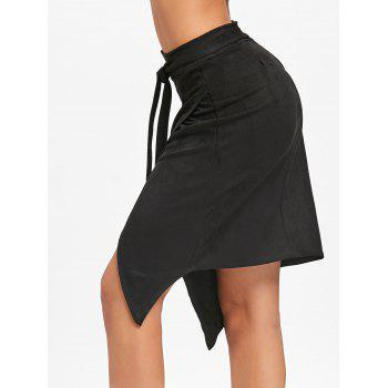 High Waisted Asymmetrical Wrap Skirt - BLACK BLACK