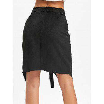High Waisted Asymmetrical Wrap Skirt - BLACK XL