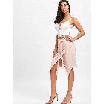 High Waisted Asymmetrical Wrap Skirt - CAMEO L