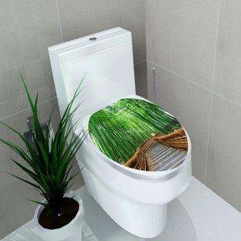 Decorative Bamboo Grove Pathway Printed Toilet Sticker - GREEN 12.6*15.4 INCH