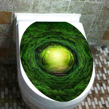 Dreamy Tree Hole Pathway Printed Decorative Toilet Sticker - GREEN 12.6*15.4 INCH