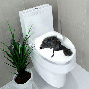 Removable 3D Hole View Dog Toliet Sticker - BLACK 12.6*15.4 INCH