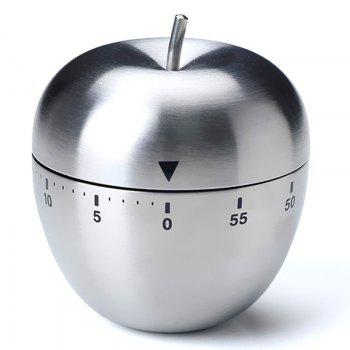 Counter 60 Minutes Alarm Stainless Steel Apple Egg Kitchen Timer - STAINLESS STEEL 5.5*6.5CM