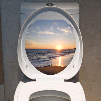 Bath Decor Seaside Sunset Scenery Print Toilet Sticker - COLORFUL 12.6*15.4 INCH