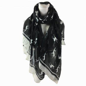 Elk Pattern Embellished Sheer Scarf - BLACK