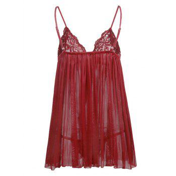 Valentine Plus Size  Mesh Sheer Babydoll Dress - RED 3XL