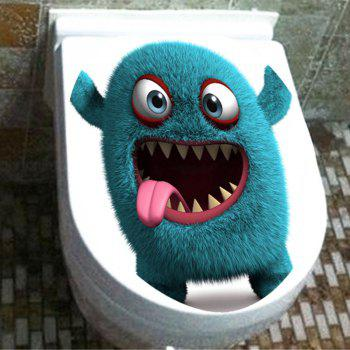 Fuzzy Little Monster Pattern Decorative Toilet Sticker - BLUE 12.6*15.4 INCH