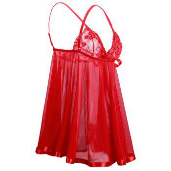 Valentine Lingerie Plus Size Sheer Mesh Babydoll - RED 6XL