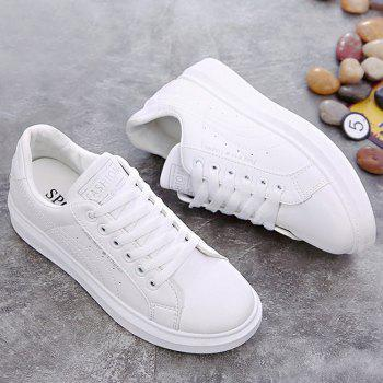Glitter Letter Print PU Leather Skate Shoes - SILVER 39