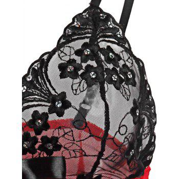 Valentine Lingerie Plus Size Sheer Mesh Babydoll - BLACK/RED 5XL