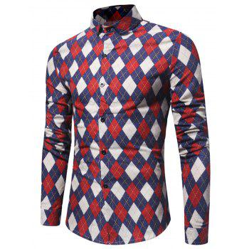 Long Sleeve Casual Argyle Shirt - RED L