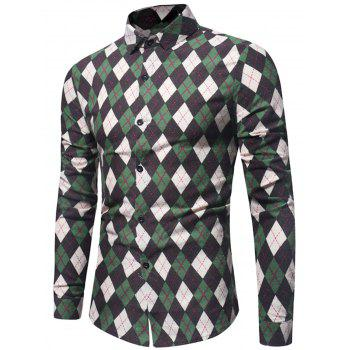 Long Sleeve Casual Argyle Shirt - GREEN 3XL