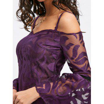 Bell Sleeve Cold Shoulder Lace Dress - PURPLE L