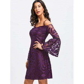 Bell Sleeve Cold Shoulder Lace Dress - PURPLE XL