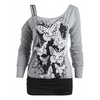 One Cold Shoulder Butterfly Print Long Sleeve T-shirt