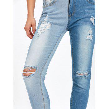 Ripped Two Tone Color Jeans - BLUE S