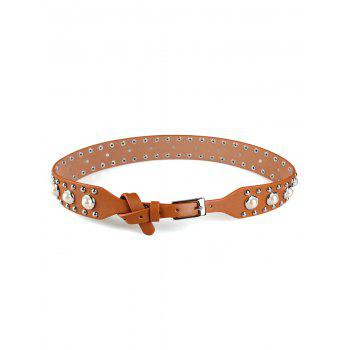Faux Pearl Studs Insert Wide Belt - BROWN BROWN
